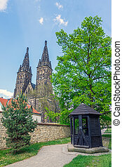 View on St. Peter & Paul Church from Vysehrad Park with the...