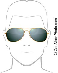 Black sunglasses with golden rim vector template with face...