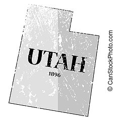 Utah State and Date Map Grunged - A grunged Utah state...