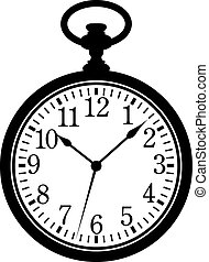 Pocket Watch. Silhouette, black on white. EPS 8, AI, JPEG