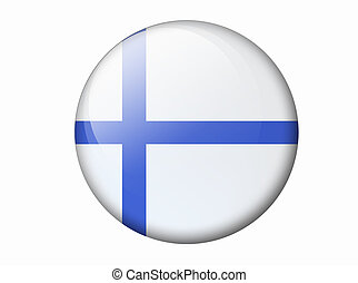 Finnish Flag - country flag round shape on a white...