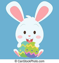 Easter bunny with easter egg collection