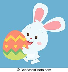 Easter bunny with big egg vector art illustration