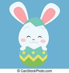 Easter bunny on the egg vector art
