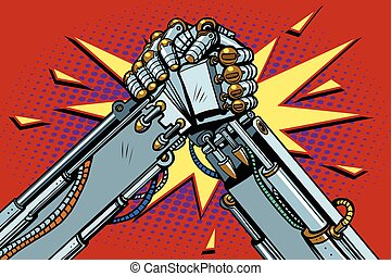 Fighting robots Arm wrestling fight confrontation, pop art...