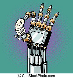 Robot OK okay gesture hand broken bandaged finger, pop art...