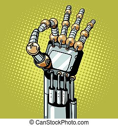 Robot OK okay gesture hand pop art retro vector...