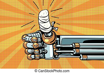 Thumb up like gesture, the robot hand is bandaged, pop art...