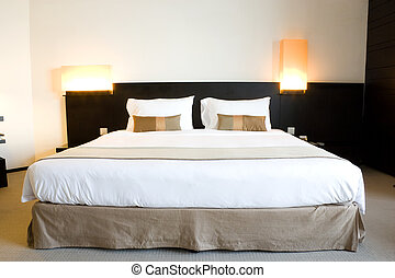 Hotel Bed - Image of a comfortable looking hotel bed.
