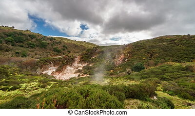 Sulphur fumaroles of Furnas do Enxofre timelapse, Azores -...