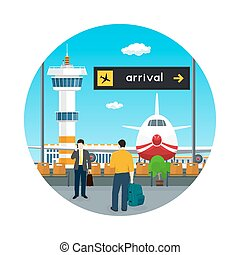 Icon Waiting Room in Airport with People - Icon Airport ,...
