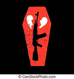 Gun, Coffin and Broken Heart Illustration