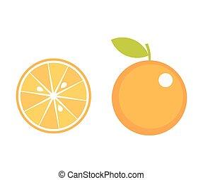 Orange fruit icons, orange slice. Vector illustration