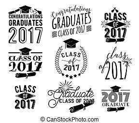 Graduation wishes overlays labels set. Monochrome graduate...