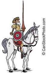 Don Quixote - Cartoon illustration of Don Quixote of the...