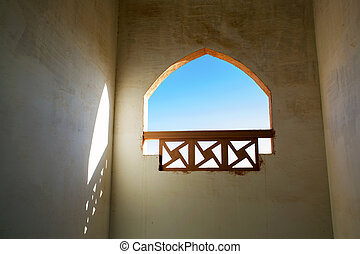 Window from within the building in the Arab style