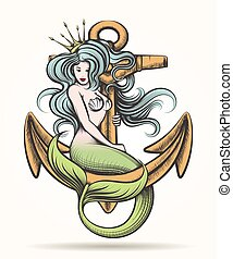 Mermaid with Crown on the Anchor - Beauty blue haired Siren...