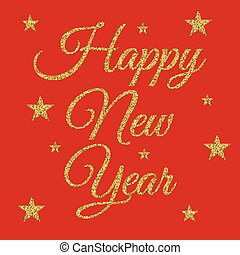 Vector illustration of gold happy new year