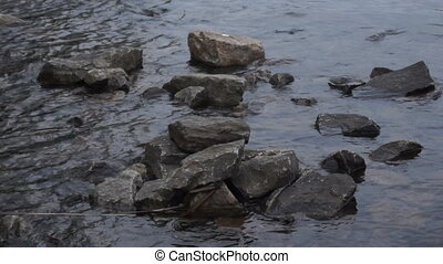 Water river rock lake - Small mountain river. Landscape with...