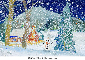 Children's Art - Snowfall - Photograph image of a 6 year old...
