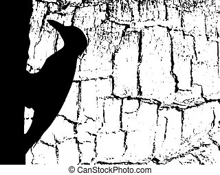 vector silhouette woodpecker on wood background