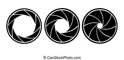 vettore, silhouette, diaframma, bianco, fondo