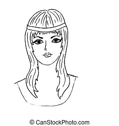 vector drawing of the young girl
