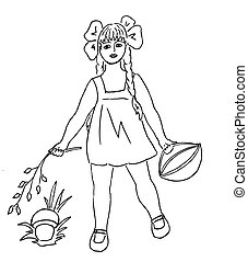 vector silhouette of the small girl with basket