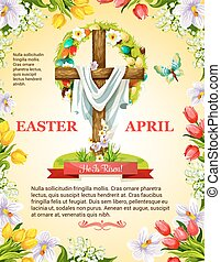 Vector Easter crucifix cross and paschal wreath - Easter...