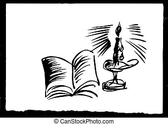 vector drawing of the candle on white paper