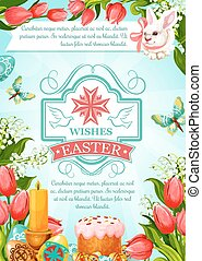 Easter vector paschal poster of cake paska kulich - Easter...