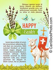 Easter greeting vector poster, paschal eggs willow - Happy...