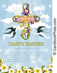 Vector Easter crucifix cross of flowers poster
