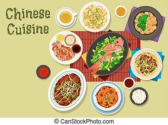 Chinese cuisine dinner icon for asian food design - Chinese...