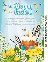 Easter poster vector paschal cake, eggs, flowers - Happy...