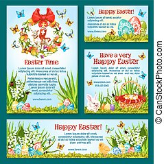 Easter holiday greetings banner template design - Easter...