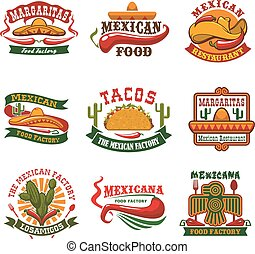 Mexican cuisine fast food restaurant emblem design - Mexican...