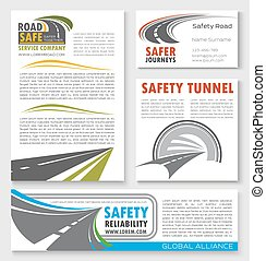 Road construction, traffic safety banner template - Road...