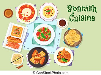 Spanish cuisine dinner menu with dessert icon