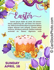 Easter paschal cake paska kulich vector poster - Easter...