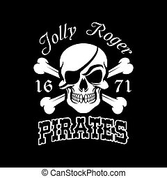 Pirate skull and crossbones, Jolly Roger symbol - Pirate...