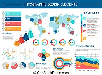 Infographic elements design with world map, charts -...