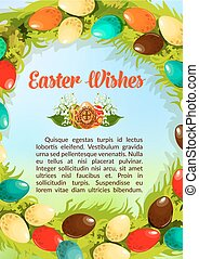 Easter wishes paschal eggs vector poster template - Easter...