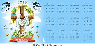 Vector calendar Easter crucifix and paschal eggs - Easter...