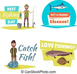 Fishing sport and hobby cartoon icon set design - Fishing...
