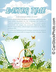 Easter paschal bunny and eggs basket vector poster - Easter...