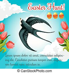Easter poster swallow, paschal eggs vector flowers - Easter...