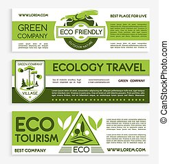 Green travel and ecotourism banner template design