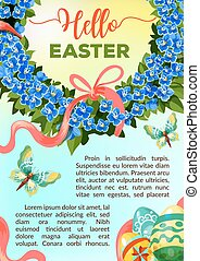 Eeaster holiday vector flower poster template - Hello Easter...