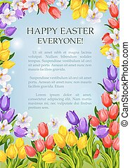 Easter flowers poster vector paschal greeting card - Happy...